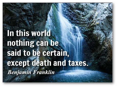 death and taxes quotation - franklin
